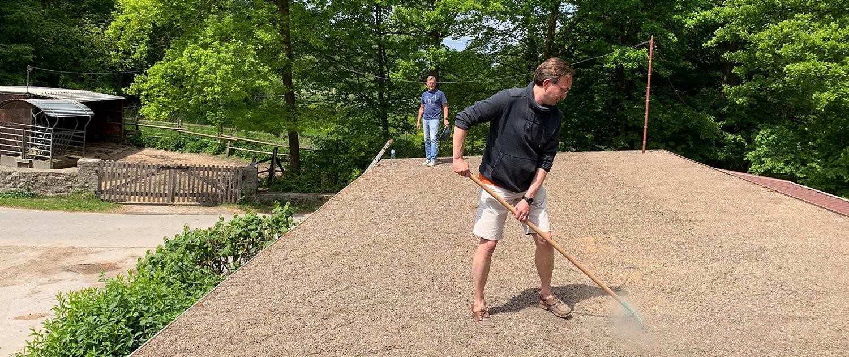 Das Dach wird für die Saat vorbereitet